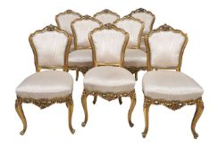 A suite of giltwood seat furniture in Louis XVI style