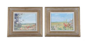 λ Paul Brown (British 20th century)Flowers by the Field; Poppies at the Edge of the Field