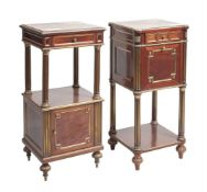 A companion pair of French mahogany and gilt metal mounted bedside tables in Napoleon III style