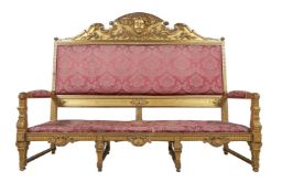 A Continental giltwood hall canape