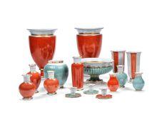 A selection of modern Royal Copenhagen crackle-glazed porcelain