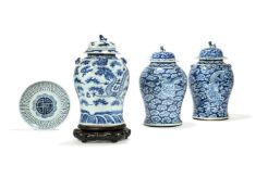A pair of Chinese blue and white 'Dragon' Jars and Covers, Qing Dynasty, 19th century