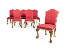A set of six George II style carved giltwood side chairs, 20th century, in the manner of Giles Grend