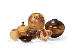 Seven various turned hardwood vessels