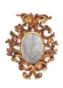A small Italian giltwood wall mirror, early 18th century
