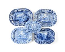 Four various Staffordshire blue and white printed pearlware meat plates and a drainer variously prin