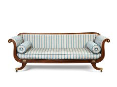 A Regency beechwood, parcel-gilt and brass-mounted scroll-end sofa, circa 1815