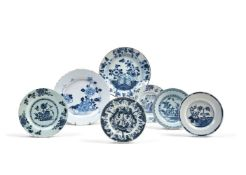 A selection of Chinoiserie English blue and white delft, third quarter 18th century