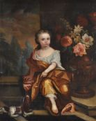 Circle of James Maubert (Irish 1666-1746) Portrait of a young girl, in gold dress with a spaniel at