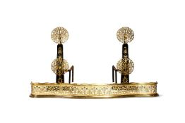 A pair of cast iron and brass mounted andirons, after 17th century examples, late 19th/early 20th ce