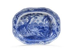 A Spode blue and white pearlware 'well and tree' meat dish from the 'Indian Sporting' Series, circa