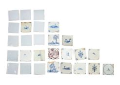 A selection of approximately twenty-six Delft tiles, 18th & 19th centuries