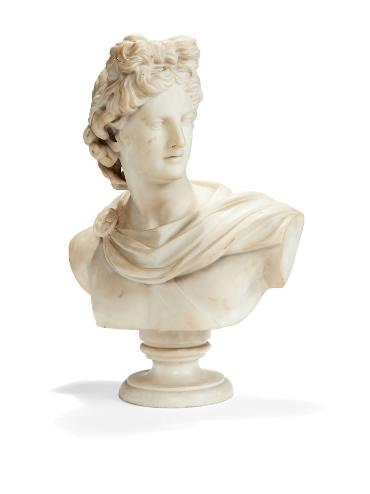 Lot 278 - An Italian sculpted white marble bust of Apollo Belvedere, 19th century