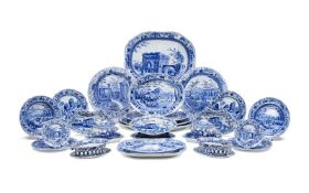 A selection of Spode blue and white printed pottery from the 'Caramanian' series, circa 1810