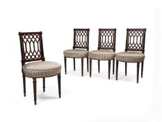 A set of four Victorian mahogany side chairs, in Louis XVI style, circa 1880
