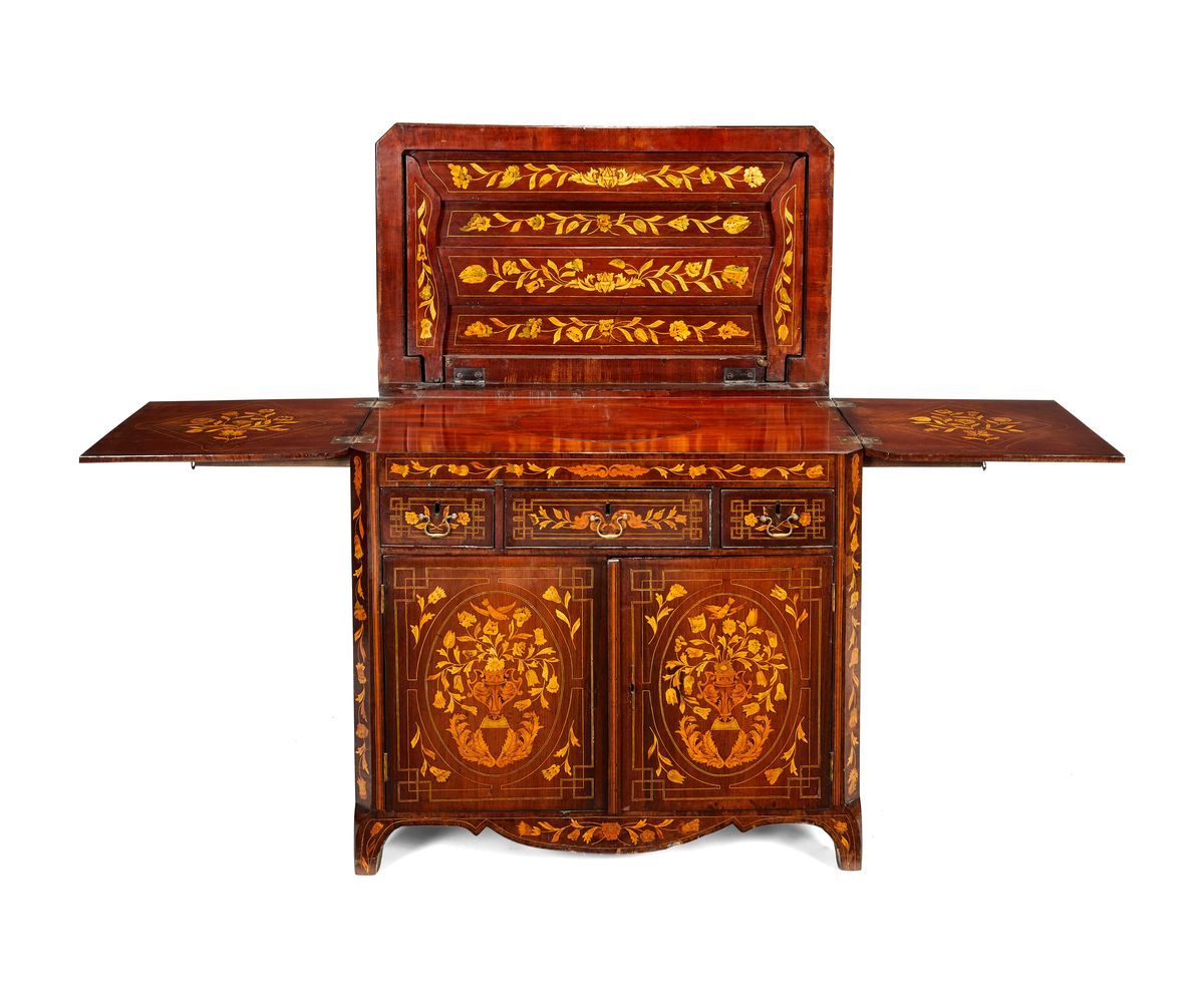 Lot 365 - A Dutch mahogany and floral marquetry buffet, early 19th century
