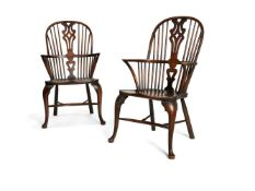 A pair of George III style ash, elm and oak Windsor armchairs