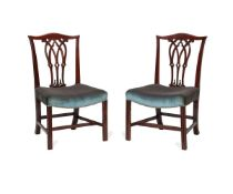 A pair of George III mahogany dining chairs, late 18th century