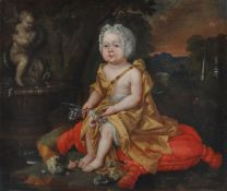Follower of Sir Peter Lely Portrait of an infant, in a gold wrap and lace bonnet, seated, holding fl