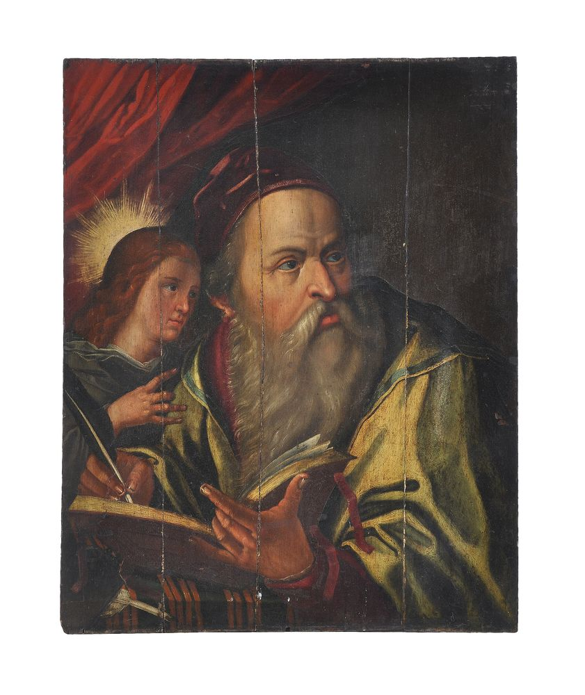 Lot 277 - Continental School (17th century) A scholar holding an open book with an angel Oil on panel78 x 61cm
