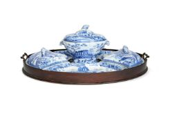A Spode blue and white printed pearlware part supper set from the 'Caramanian' Series, early 19th ce