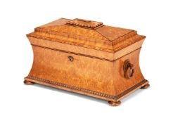 A George IV or William IV birds eye maple veneered tea caddy, circa 1830
