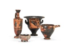 Four Greek pottery vessels, circa 500 B.C. and earlier