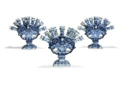A set of three Dutch Delft blue and white tulipieres, late 19th century