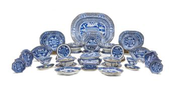 A Liverpool pearlware (Herculaneum) 'Etruscan' pattern part dinner service, early 19th century