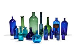 An assortment of coloured glass bottles, , various dates 19th & 20th centuries