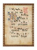 Leaf from a choirbook (Gradual), with large initial 'R', illuminated manuscript on parchment [Italy,