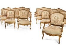 A Louis XV style carved giltwood salon suite, late 19th century