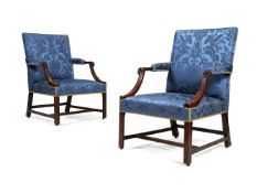 A pair of George III mahogany library armchairs, circa 1765