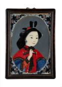 A Chinese reverse glass painting, Qing Dynasty, late 18th or early 19th century