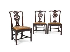 A set of three George III mahogany dining chairs, possibly Scottish, circa 1760