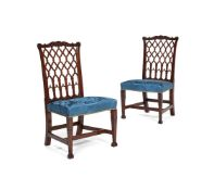 A pair of George III style mahogany side chairs, 19th century, in the manner of Robert Manwaring
