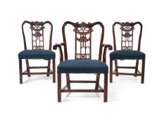A set of three George III style carved mahogany chairs, late 19th century