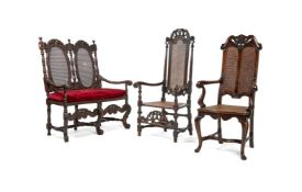 A Charles II style carved walnut chair back settee, early 20th century
