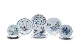 A selection of eleven English delft plates and chargers, third quarter 18th century