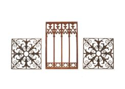 A pair of French or English wrought iron grille or balcony panels, 19th century