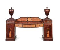 A late Victorian mahogany and marquetry bow-front pedestal sideboard, late 19th century