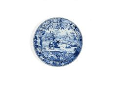 A large Davenport Chinoiserie blue and white pearlware round serving dish and drainer, circa 1815