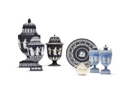 A selection of mostly Wedgwood black-dip Jasper, mostly late 19th century