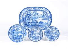A Staffordshire blue and white printed pottery 'Philosopher' pattern meat plate