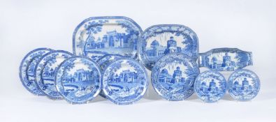 A selection of Rogers blue and white printed pearlware