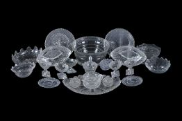 An assortment of cut glass dishes