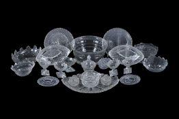 An assortment of cut glass dishes