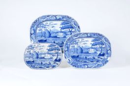 A Staffordshire blue and white pearlware shaped rectangular meat plate printed with the 'Lakeside Me