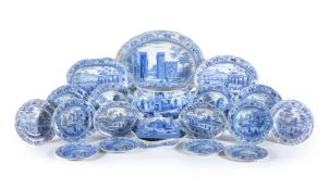 A selection of Spode blue and white printed pottery wares from the 'Caramanian' series