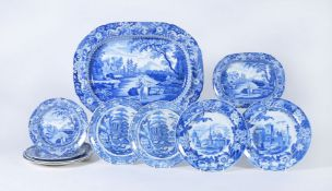 A selection of South Yorkshire blue and white printed pearlware